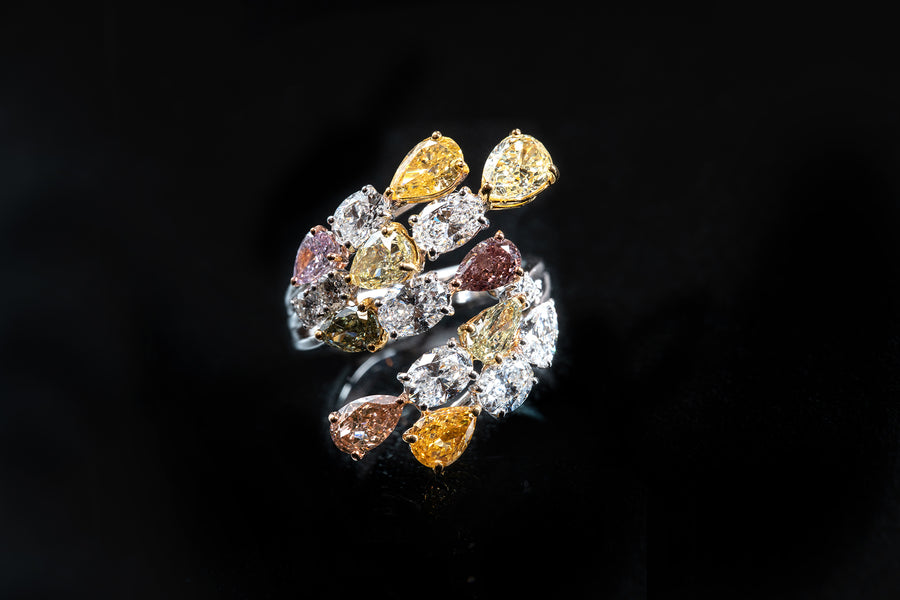 Natural Multi Color Pear Shape and Oval Brilliant Cut Diamond Ring