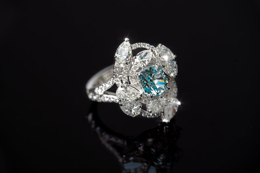 Natural Fancy Intense Greenish Blue Diamond Ring
