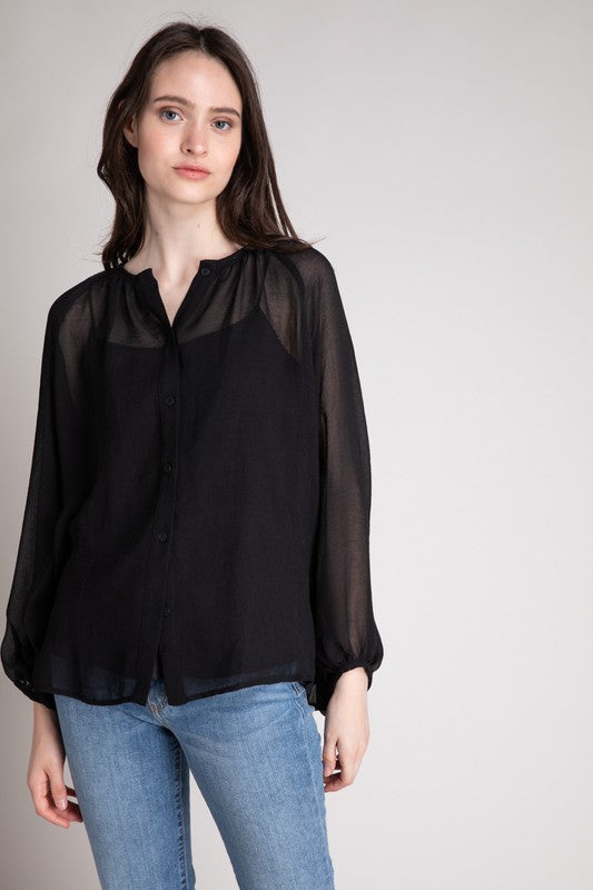 Sheer Smocked Neck Blouse