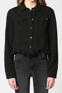 Cropped Fitted Fray Jacket Black