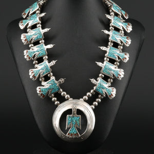Vintage Tommy Singer Navajo Diné Sterling Silver Coral and Turquoise Squash Blossom Fetish Necklace