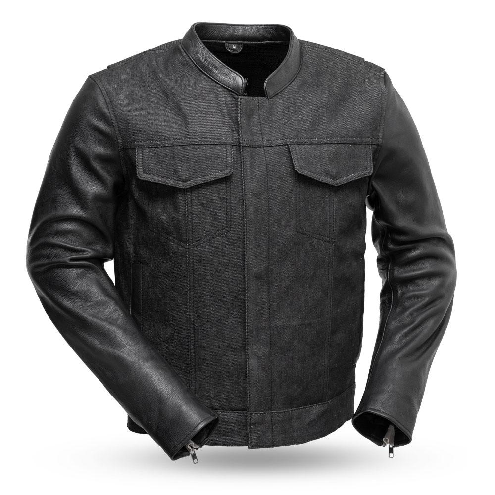 Black Denim and Leather Cutlass Motorcycle Jacket