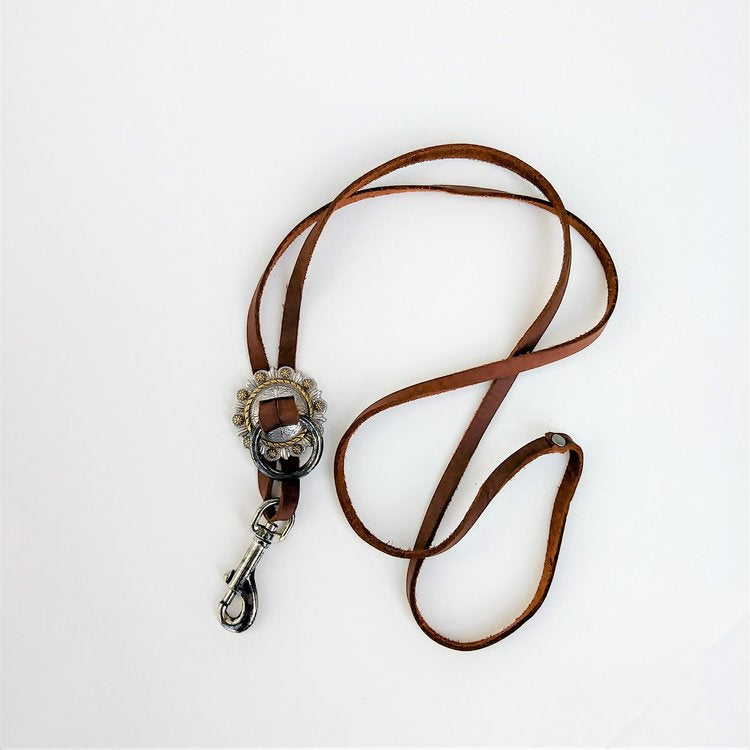 Concho Lanyard Necklace Brown