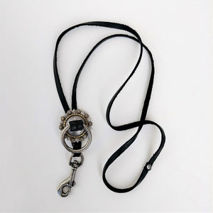 Concho Lanyard Necklace Black