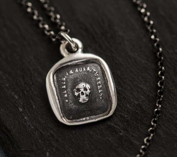 Wax Seal Pendant Skull Necklace