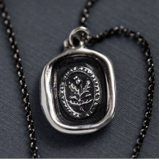 Wax Seal Pendant Thistle Necklace