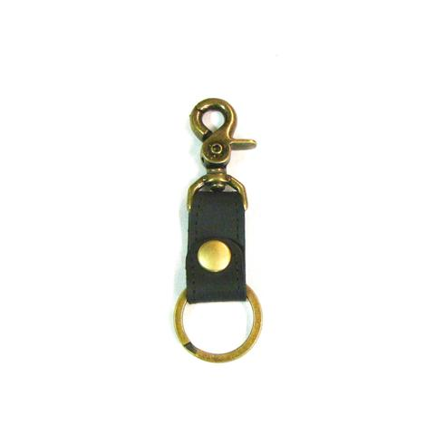 Black with Brass Leather Simple Key Fob