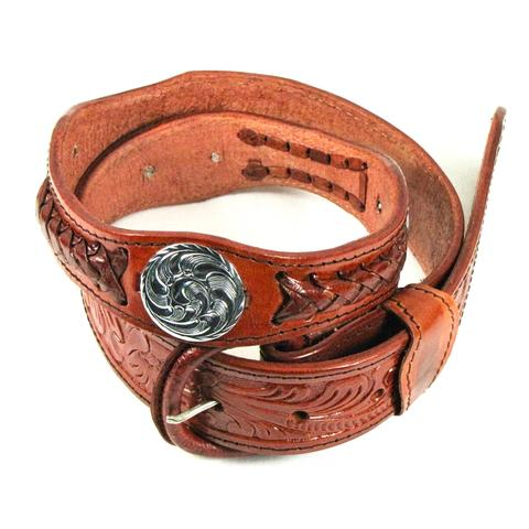 Western Braid and Concho Belt Cognac