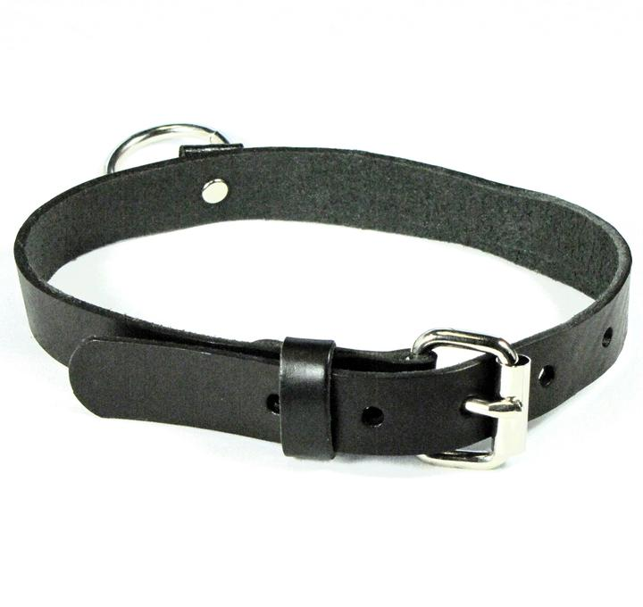 Black Leather O Ring Choker
