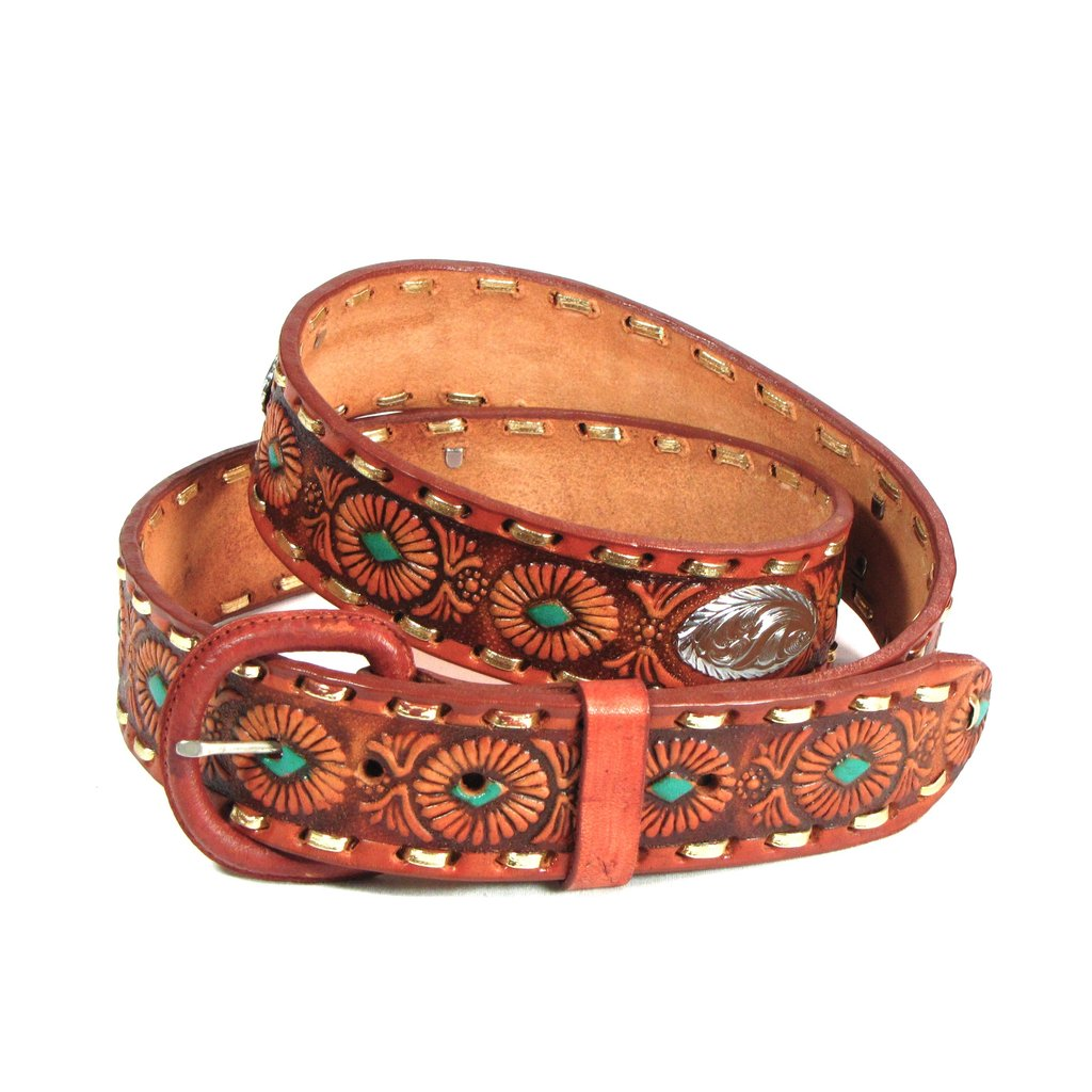 Brown Leather Tooled Concho Belt