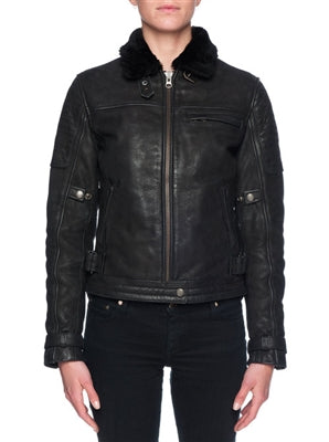 Women's Leather and Shearling Nighthawk Motorcycle Jacket