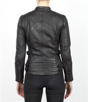 Black Leather Wild and Free Motorcycle Jacket