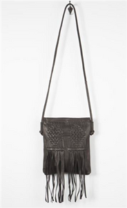 Harper Black Woven Leather Fringe Crossbody Bag