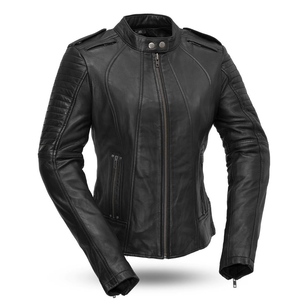 Women's Black Leather Sexy Biker Jacket