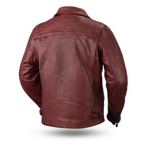 Men's Oxblood Leather Night Rider Motorcycle Jacket