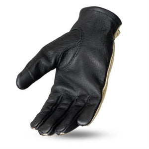Ladies Gold Leather Bobber Moto Gloves
