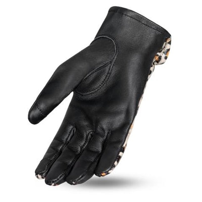 Ladies Leopard Leather Bobber Moto Gloves