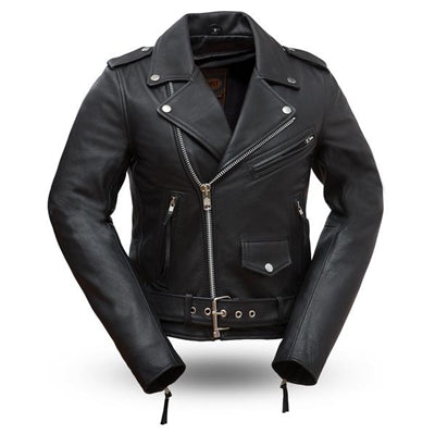Women's Black Leather Rockstar Motorcycle Jacket