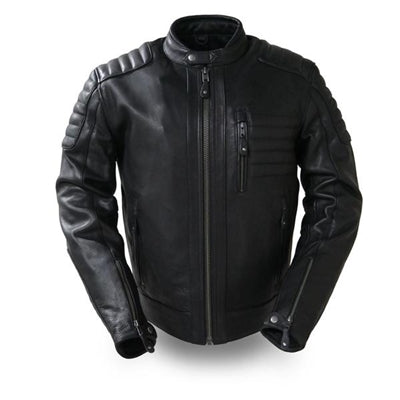 Men's Black Leather Defender Motorcycle Jacket