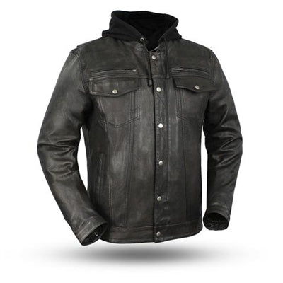 Men's Black Leather Vendetta Motorcycle Jacket