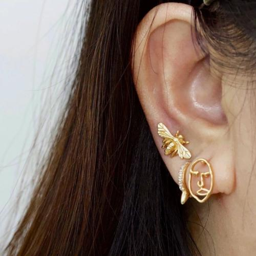 Gold Abstract Face Earrings