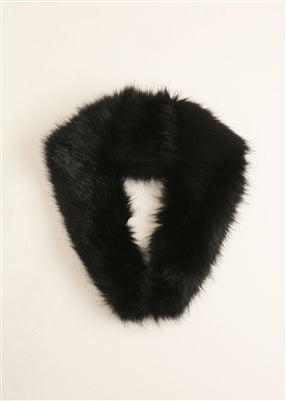 Faux Black Fur Stole