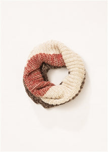 Orange and Ivory Knit Infinity Scarf