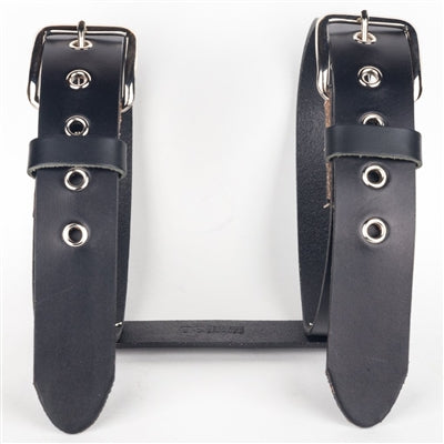 Black Leather Motorcycle Bed Roll Carrier
