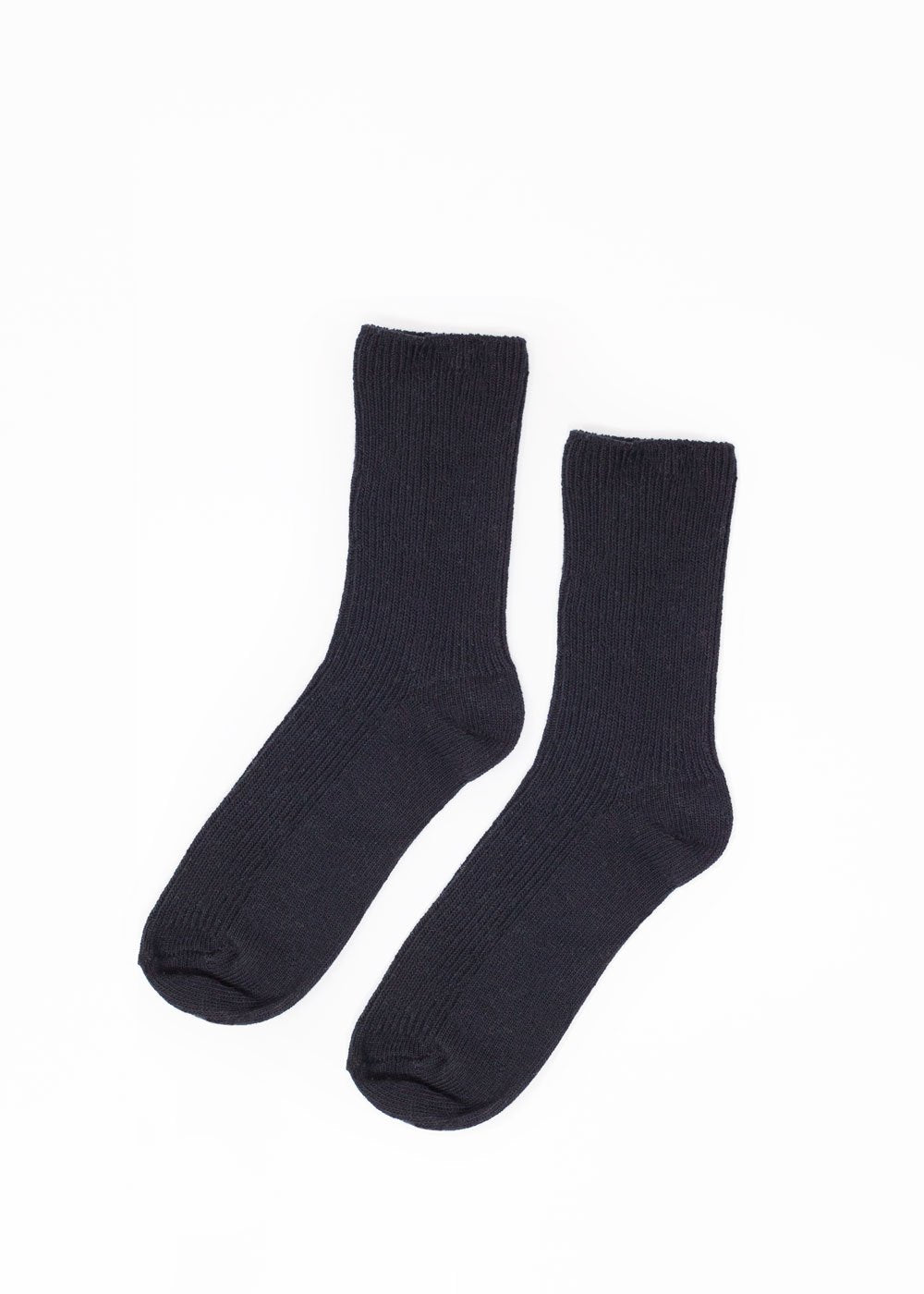 Black Basic Ribbed Socks