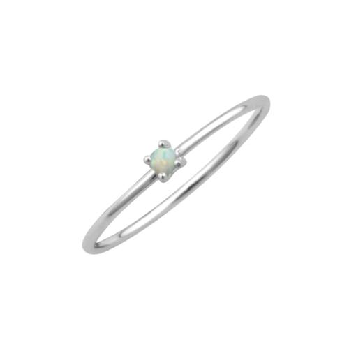 Sterling Silver Minimal Opal Ring