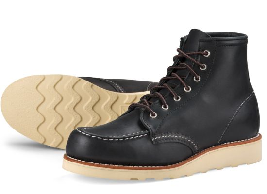 Women's Black Leather 6 Inch Moc