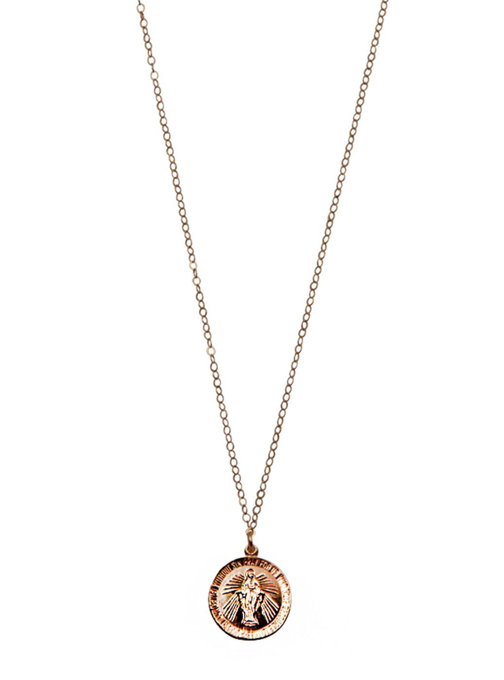 Round Gold Virgin Mary Pendant Necklace
