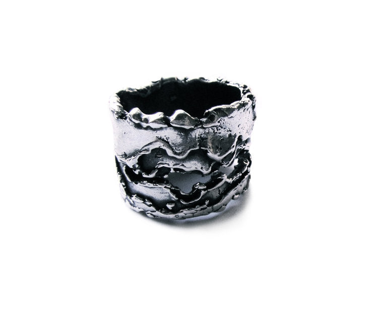 Split Earth Sterling Ring