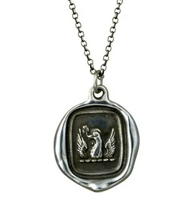 Wax Seal Pendant Sterling Necklace Phoenix