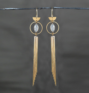 Long Gold Tassel Earrings with Moonstone