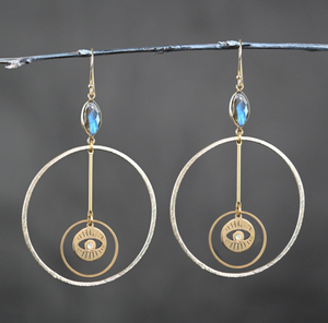 Hoop with Eye and Labradorite Stones