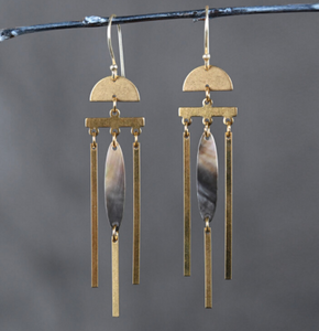 Mother Of Pearl and Brass Earrings