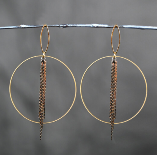 Hoop with Gold Tassel Earrings