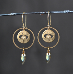 Eye Hoops with Labradorite
