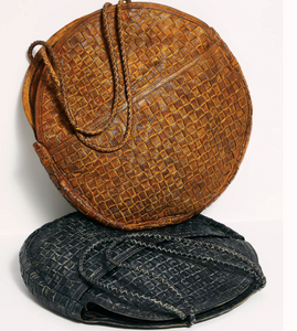 Cleo Round Woven Distressed Leather Crossbody