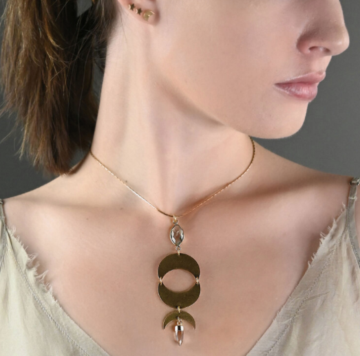 Brass Moon Phase Adjustable Necklace