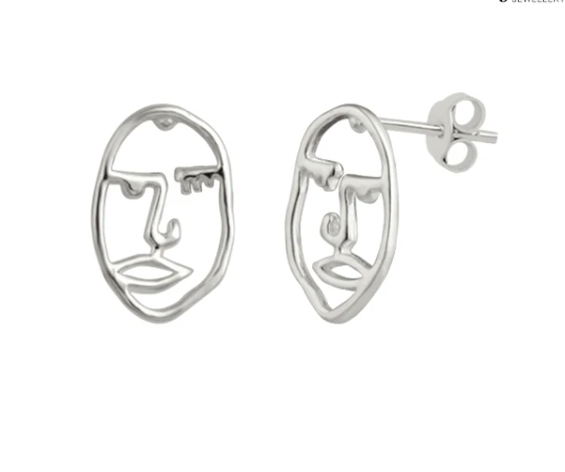 Abstract Face Earrings Silver