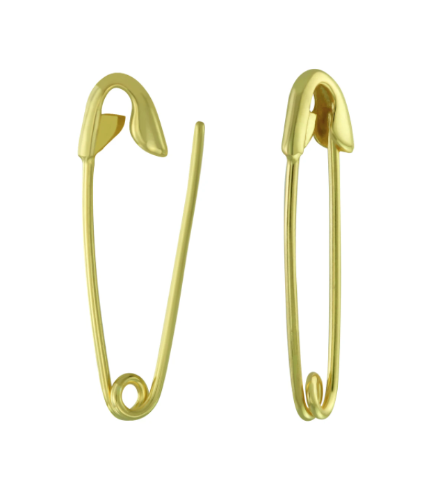 Safety Pin Earrings Gold