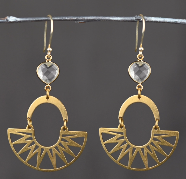 Geometric Sunburst Brass Earrings