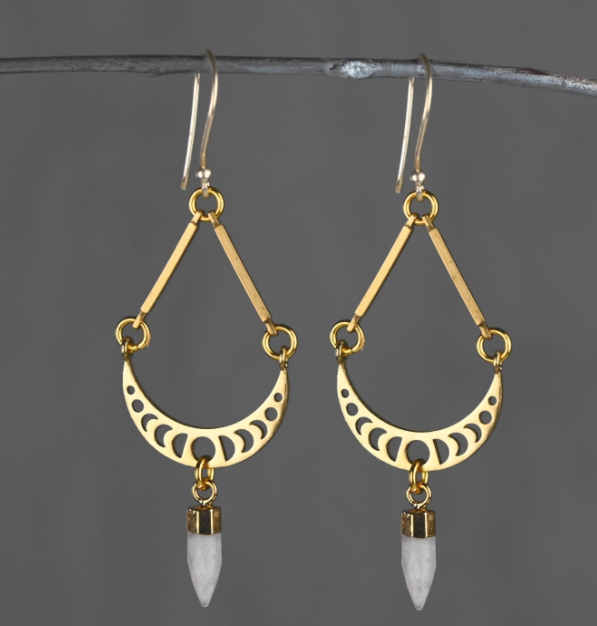 Small Moon Phase Brass Moonstone Earrings