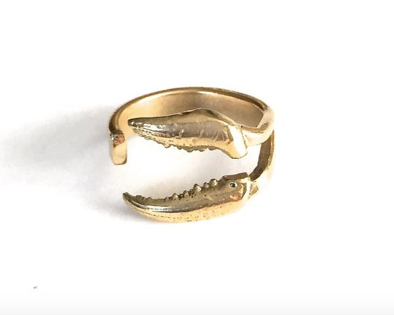 Deconstructed Crab Claw Ring Brass