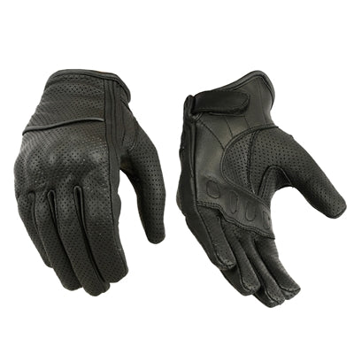 Suzi Q Perforated Black Leather Women's Motorcycle Gloves by Tarnish