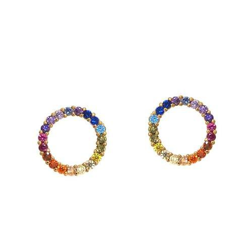 Rainbow CZ Circle Post Earrings