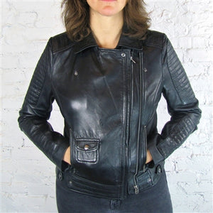 Tarnish Black Leather Quilted Jacket