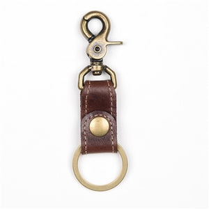 Brown Leather Simple Key Fob